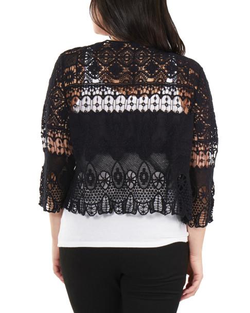 Open Front Allover Crochet Shrug~Black*MSSR1452