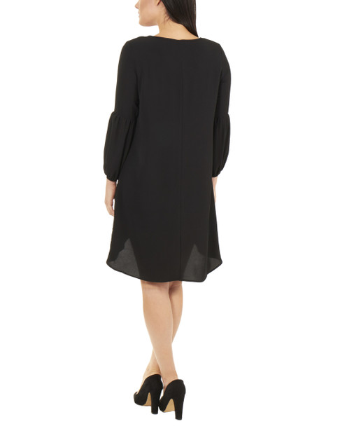 Petite Long Sleeve High-Low Hem Dress With Necklace~Black*PCRD0109