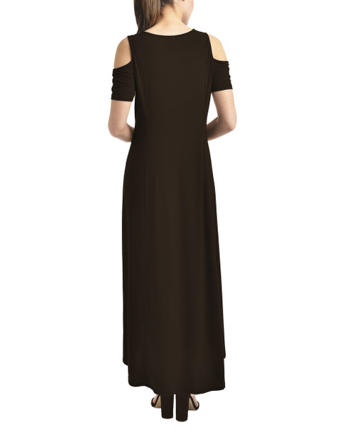 Petite Cold Shoulder High-Low Maxi Dress~Black*PITD3467
