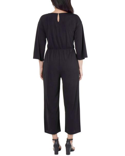 Petite 3/4 Sleeve Tie Front Jumpsuit~Black*PITU6844