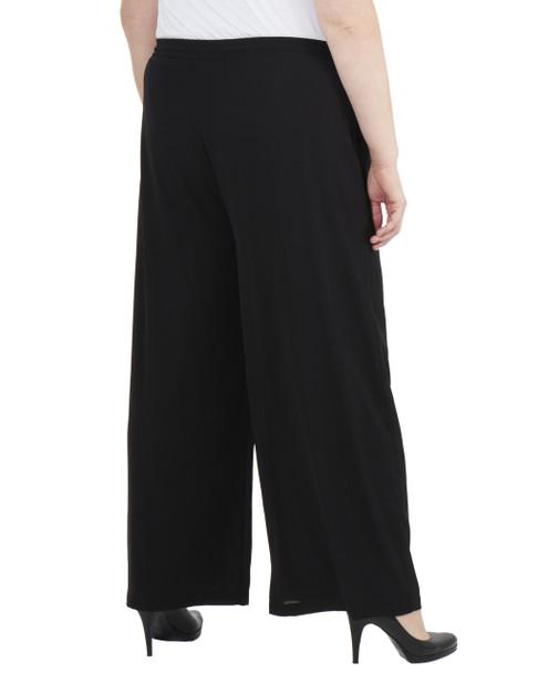 Plus Size Elastic Waist Tassel Tie Palazzo Pants~Black*WDOP0139