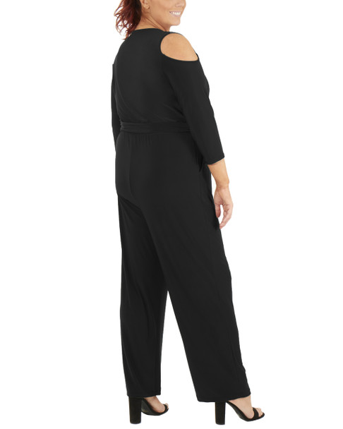 Plus Size 3/4 Sleeve Cold Shoulder Jumpsuit~Black*WITU6853