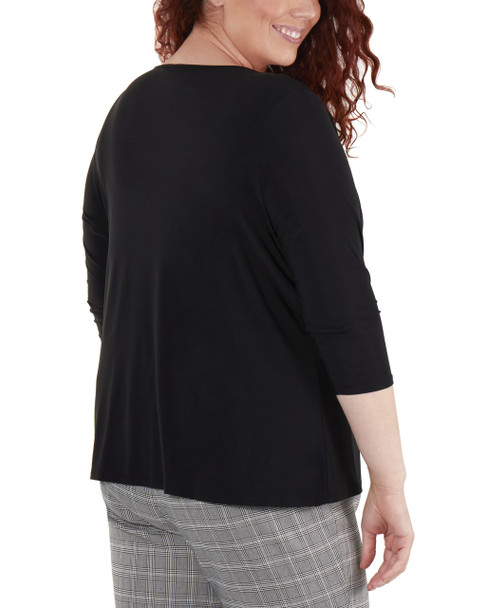 Plus Size 3/4 Sleeve Front Pleated Top with Hardware Trim~Black*WITU7075