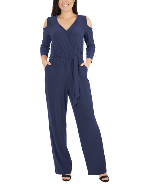 Petite 3/4 Sleeve Cold Shoulder Jumpsuit~Blue Angelfish*PITU6848