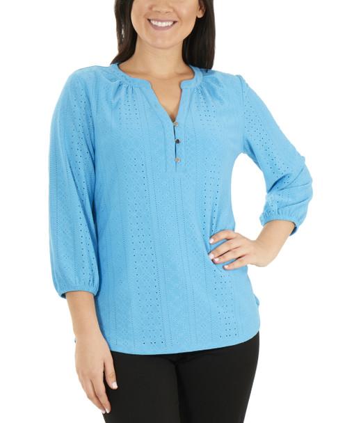 Petite 3/4 Sleeve Y Neck Mandain Collar Top~Blue Colorstripe*PNKU2005