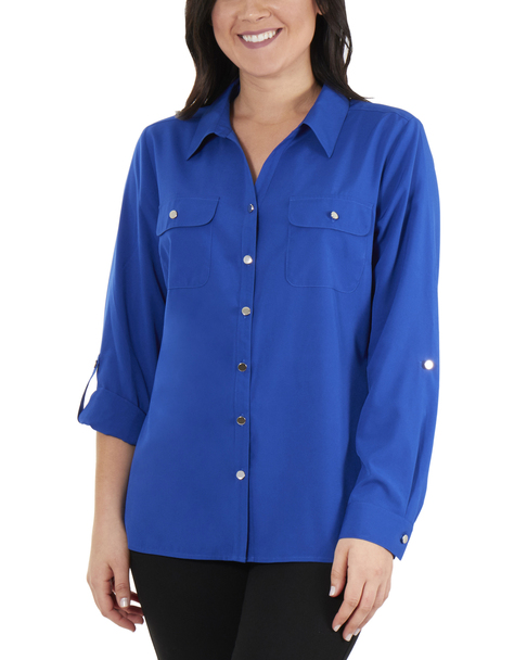 3/4 Roll Tab Sleeve Button Down Blouse~Blue Muse*MCDB0416