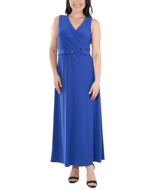 Wrap Front Maxi Dress with Hardware Belt Trim~Blue Note*MITD3767