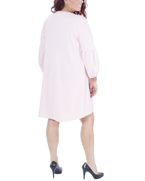 Plus Size Long Sleeve Scoop Neck High-Low Dress~Blush*WNKD0442
