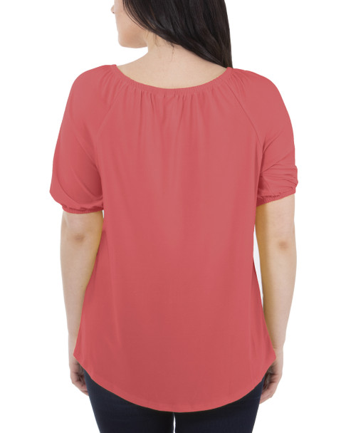 Short Sleeve Scoop Neck Peasant Top~Cayyene*MITU7070