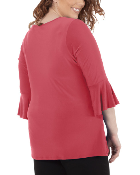 Plus Size Bell Sleeve Knot Detail Top~Cayyene*WITU7029