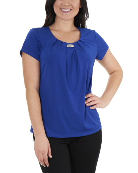 Pleated Front Short Sleeve Top with Hardware Trim~Deep Blue*MITU7021