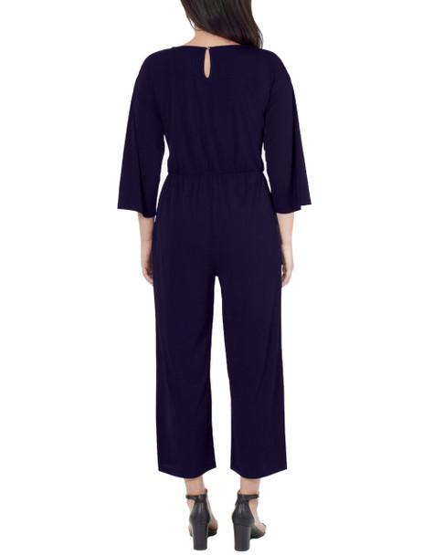 Petite 3/4 Sleeve Tie Front Jumpsuit~Eclipse*PITU6844
