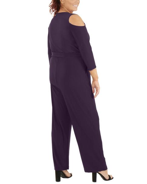Plus Size 3/4 Sleeve Cold Shoulder Jumpsuit~Eggplant*WITU6853