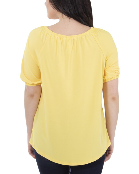 Short Sleeve Scoop Neck Peasant Top~Freesia*MITU7070