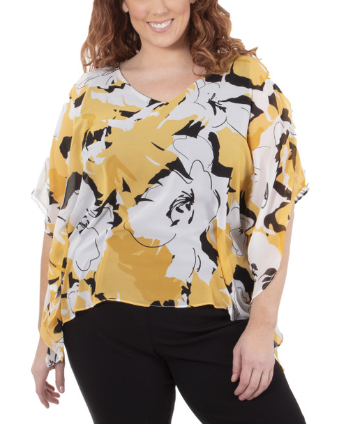 Plus Size Slit Sleeves V Neck Back Strap Poncho~Gold Rockpetal*WCCF0358