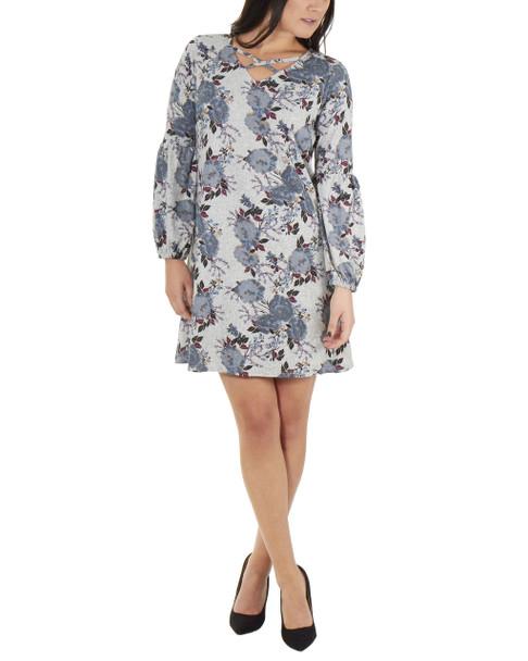 Petite Long Sleeve V Neck Lattice Dress~Gray Suntea*PHAD0035