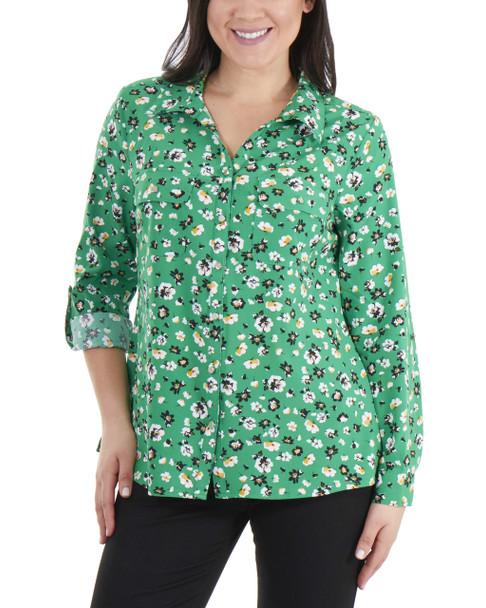 3/4 Roll Tab Sleeve Button Down Blouse~Green Lejardine*MSTB1416