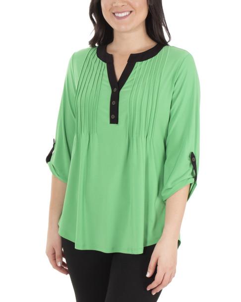 Color Block Push Tab Top~Green Mixchelsea*MITU6821