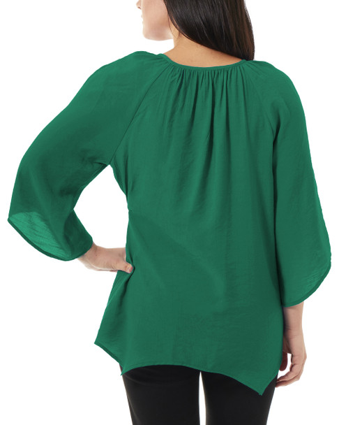 Lace Front Tie Neck Sharkbite Hem Top~Green*MRJU0534