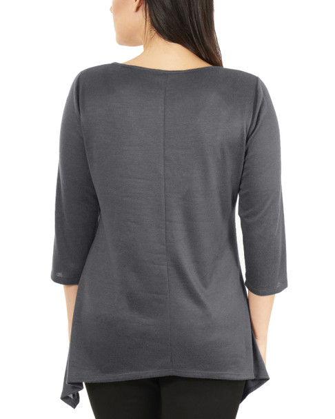 Metal Neckline Sharkbite Hem Top~Grey*MHAU0399