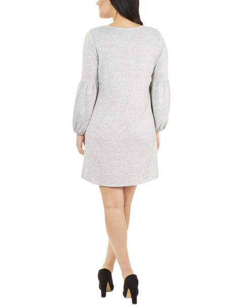 Petite Long Sleeve V Neck Lattice Dress~Grey*PHAD0036