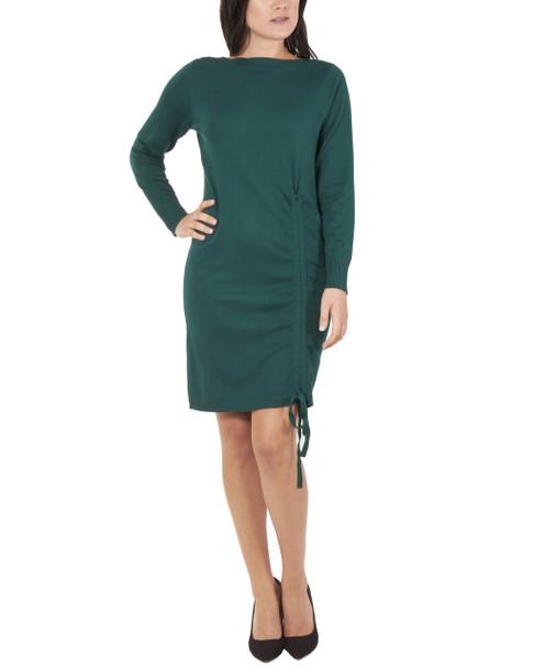 Boat Neck Front Ruched Dress~Hunter Green*MSVD0418