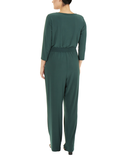 Zipper Front Sash Tie Jumpsuit~Hunter*MITU6846