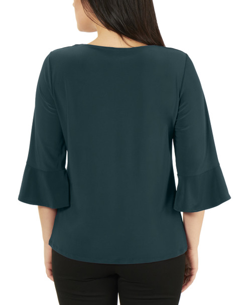 Petite 3/4 Bell Sleeve V Neck Tie Front Top~Hunter*PITB0344