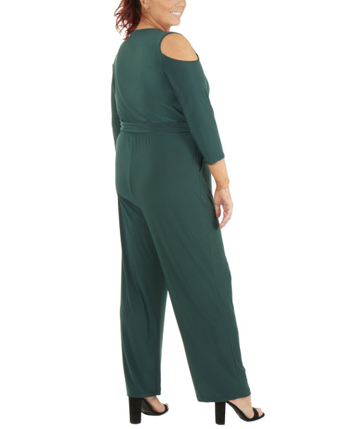 Plus Size 3/4 Sleeve Cold Shoulder Jumpsuit~Hunter*WITU6853