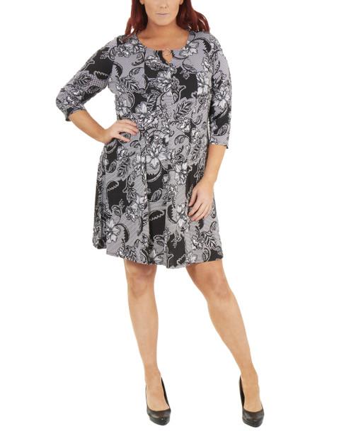 Plus Size 3/4 Sleeve Round Neck Dress~Jet Fleurnet*WITD3678