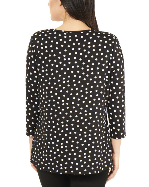 3/4 Sleeve Front Pleated Top with Hardware Trim~Jet Morespots*MITU7074