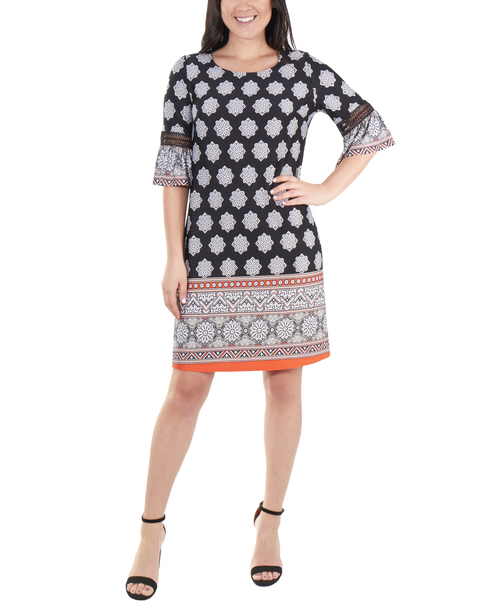 Bell Sleeve Dress with Crochet Trim~Jet Morocowall*MITD3765