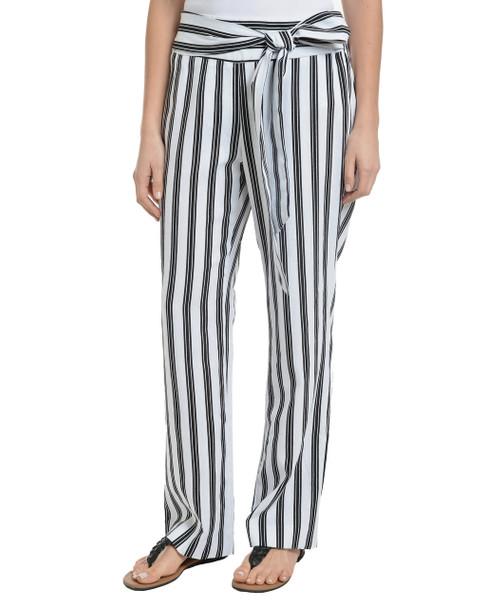 Petite Elastic Back Waist Tie Front Pants~Jet Tripleway*PLDP0148