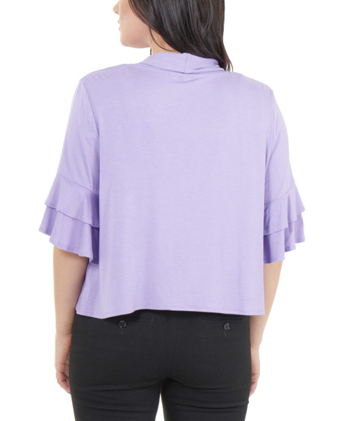 Open Front Double Bell Sleeve Shrug~Lavender*MRSR0245