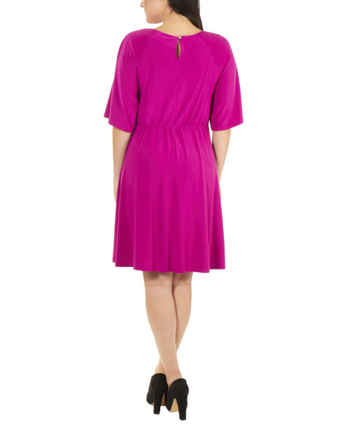 Raglan Elbow Sleeve Dress~Magenta*MITD3675