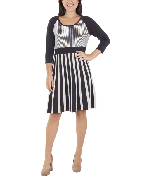 Striped Scoop Neck Flare Dress~Marcella*MSVD0419