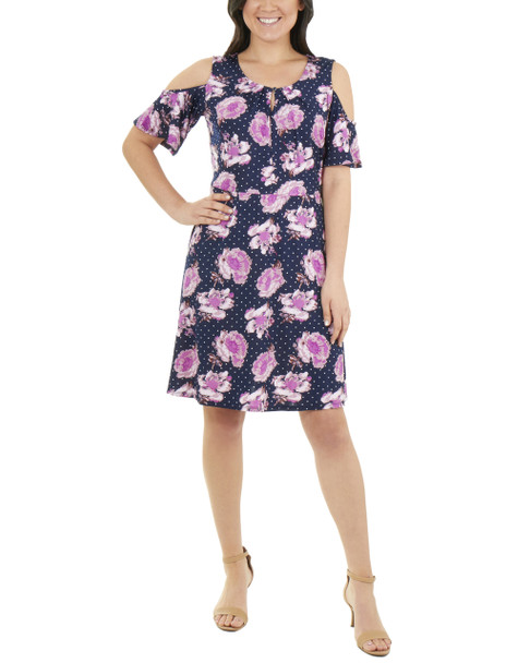 Cold Shoulder Neck Pleated Dress~Navy Bloomdot*MITD3768