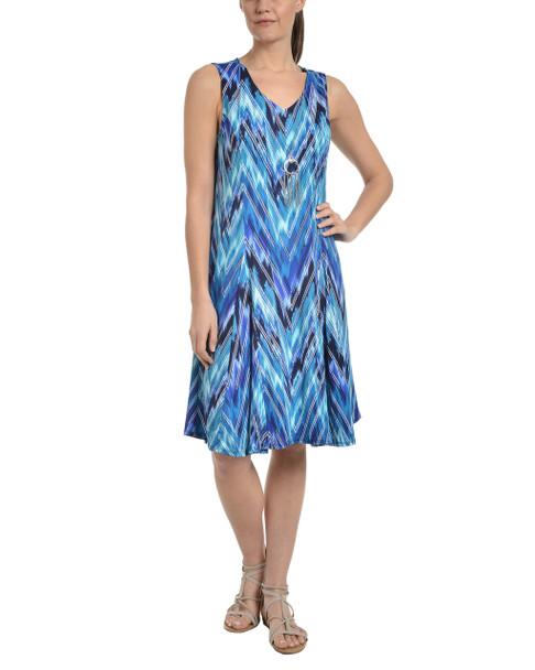 Sleeveless V Neck Godet Dress with Necklace~Navy Nebular*MITD3473