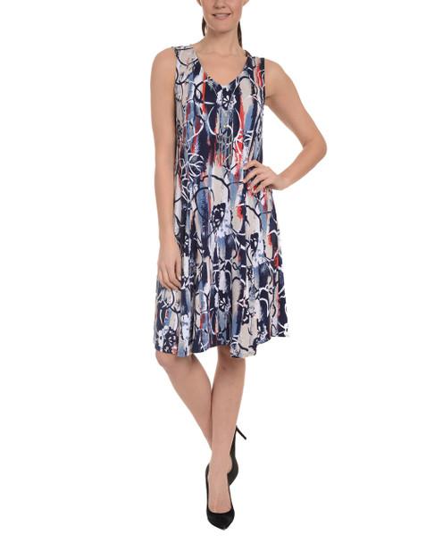 Petite Sleeveless V Neck Godet Dress with Necklace~Navy Nebular*PITD3473