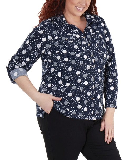 Plus Size 3/4 Roll Tab Sleeve Button Down Blouse~Navy Quilldot*WSTB1416