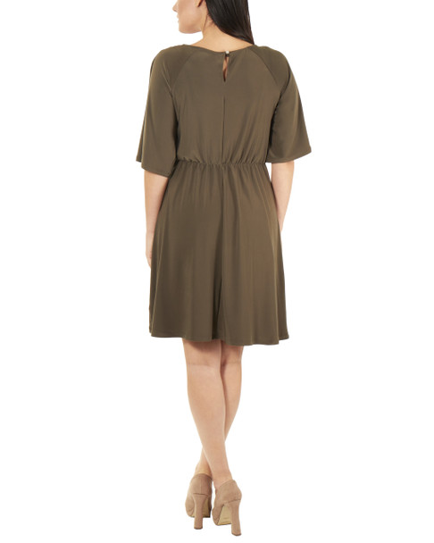 Petite Raglan Elbow Sleeve Dress~Olive*PITD3675