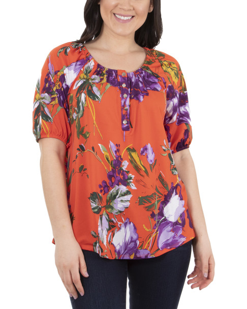 Petite Short Sleeve Scoop Neck Peasant Top~Orange Canvasgarden*PITU7071