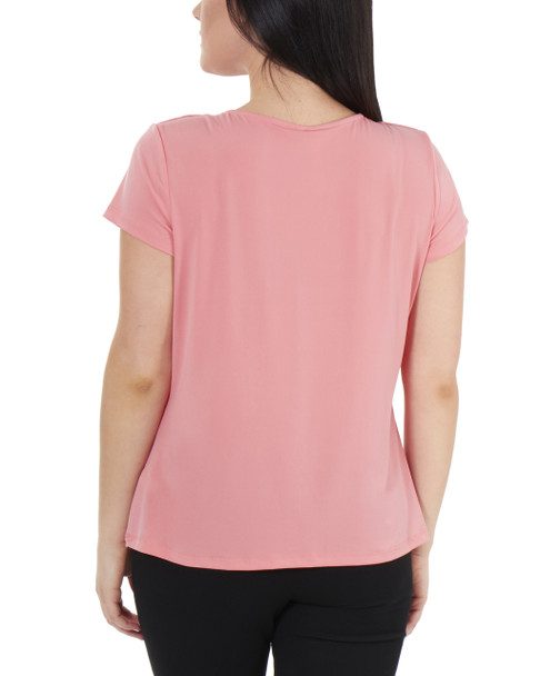 Pleated Front Short Sleeve Top with Hardware Trim~Peach*MITU7021
