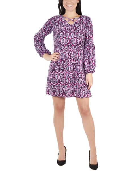 Petite Long Sleeve V Neck Lattice Dress~Pink Alessarose*PHAD0035