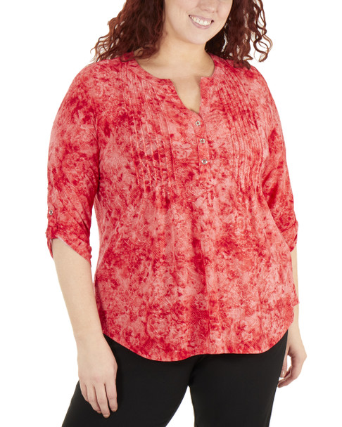 Plus Size 3/4 Push Tab Front Pleated Top~Placid Dustydusk*WNKU2035