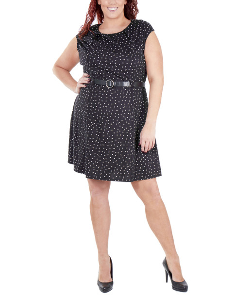 Plus Size Extended Shoulder Round Neck Dress With Belt~Red Flakes*WDKD0408