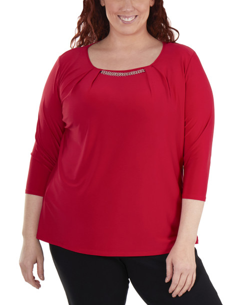 Plus Size 3/4 Sleeve Front Pleated Top with Hardware Trim~Red Mercury*WITU7075