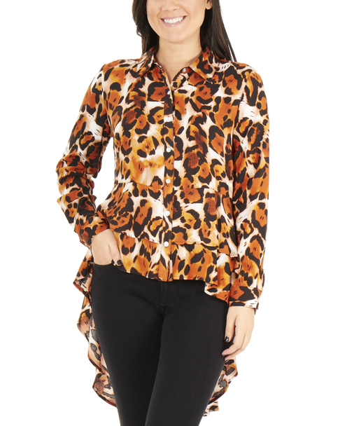 Animal Print Button Up High Low Blouse     ~Tan Cheetahcell*MCAB0164