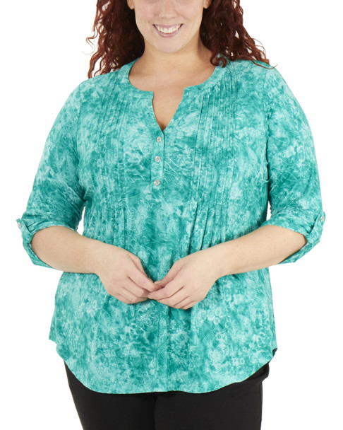 Plus Size 3/4 Push Tab Front Pleated Top~Taupe Dustydusk*WNKU2035