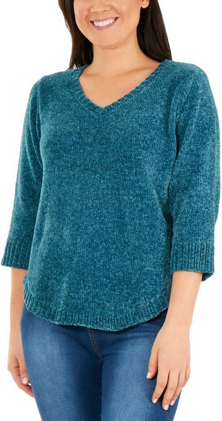 3/4 Sleeve V Neck Solid Sweater~Vintage Teal*MSVU1473